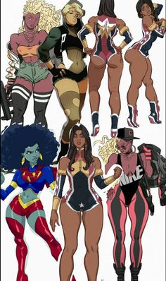 Ladies of the Trill League Sexy Black Art, Black Love Art, Black Girl Art, My Black Is Beautiful, Art Girl, Black Anime Characters, Female Characters, Super Heroine, Black Comics