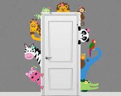 Jungle Safari Animal Decal Peeking Door Hugger Nursery Wall Decal on Etsy… Baby Bedroom, Baby Room Decor, Kids Bedroom, Nursery Decor, Wall Decor, Monkey Nursery, Jungle Nursery, Themed Nursery, Girl Nursery