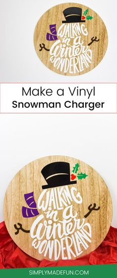 Grab a wooden charger from the Target Dollar Spot and use vinyl and your Silhouette Cameo to create a fun, winter themed plate! #silhouettecameo #handmadechristmas #homedecor
