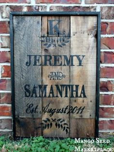 Hand Painted Rustic Wood Vintage Style CUSTOMIZED Wedding/Anniversary Pallet Sign on Etsy, $65.00