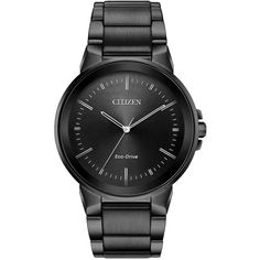 Citizen Men's Axiom Eco-Drive Stainless Steel Bracelet Watch ($221) ❤ liked on Polyvore featuring men's fashion, men's jewelry, men's watches, black, mens bracelet watch, mens water resistant watches, citizen mens watches, mens black face watches and mens watches
