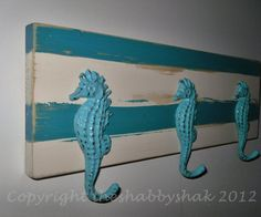 Coat Rack / Nautical Decor / Seahorse hook / Wall by Theshabbyshak, $42.00