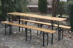 Beer Garden Table - German Style Folding Picnic Table & Benches