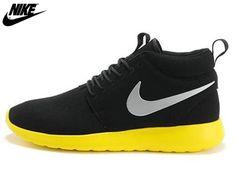 low priced a78d8 ae56f 2013 Mens Womens Nike Roshe One High Anti Fur Waterproof Running Shoes Coal  Black Lemon,
