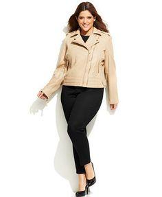 799ea5eb19b MICHAEL Michael Kors Plus Size Dual-Zip Leather Moto Jacket Plus Size  Outfits