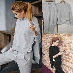 627322ec2a85 2Pcs Women s Casual Sport Tops Pants Tracksuit Sweatshirt Sweat Suit  Jogging Set