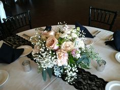 Low pink and ivory wedding centerpiece