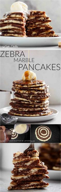 Zebra Marble Pancakes - A step up from normal pancakes and a twist on the popular zebra cake! Incredibly easy to make AND perfectly fluffy! Crepes, Best Breakfast Recipes, Savory Breakfast, Brunch Recipes, Breakfast Ideas, Breakfast Pancakes, Pavlova, Tostadas, Scones