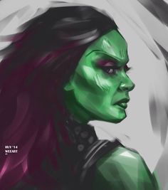 Gamora sketch!! She's tough, sexy and green!! I think Zoe did a great job as the assassin. Cheers, thanks for looking!