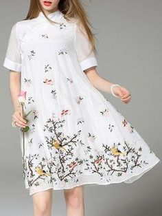 White Short Sleeve Embroidered Midi Dress