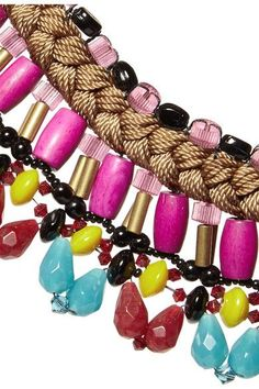 Button fastening  ImportedEtro's bracelet embodies the label's bohemian aesthetic. It's braided from bronze yarns and strung with an eclectic array of beads, including azure and cherry teardrops, faceted pink cylinders, gold-tone bugles and wooden ones. Style it so the stones drape over your hand.