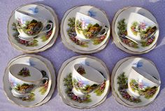 six vintage Royal Vale homestead teacups