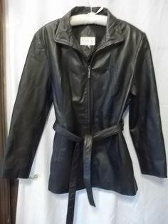 Leather Jacket Ladies Large Worthington Zip Front Belted Coat Black #Worthington #BasicJacket