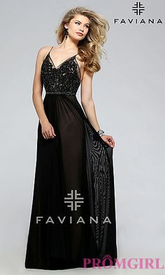 Faviana Embroidered-Mesh Long V-Neck Formal Gown at PromGirl.com  Comes in light blue