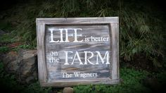 Life is better on the farm sign on recycled cabinet door