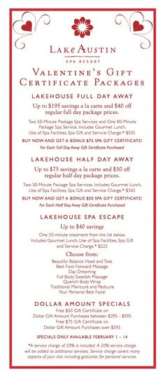 Lake Austin Spa: Valentine's Gift Certificate Packages! | The Scouted Guide