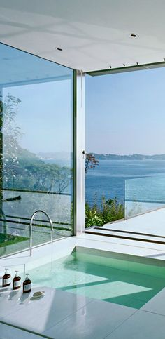 gorgeous bathroom with a view