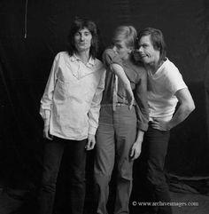 David Bowie, Iggy Pop, Ron Wood by Milton H. Greene, 1977.