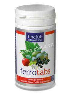 Finclub Ferrotabs - železo z rostlinných zdrojů + zinek, měď a vitamín C Avon, Coconut Oil, Jar, Jars, Glass, Vase