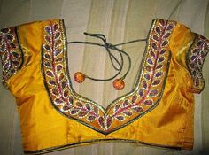 Sparkling Fashion: Blouse back neck designs,Sstone work on blouse, Embroidery blouses