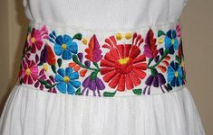 Directly from by LaMexicanShop Mexican Bridesmaid Dresses, Mexican Dresses, Mexican Fashion, Mexican Outfit, Mexican Themed Weddings, Mexican Embroidery, Jean Embroidery, Hand Embroidery Design Patterns, Mexican Flowers