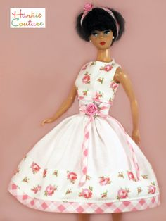 OOAK PINK FLORAL ZIPPER DOLL DRESS FITS BARBIE REPRO CLOTHES HANKIE COUTURE #HANKIECOUTURE #HANKIECOUTURE