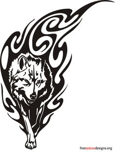 Wolf and flames tribal tattoo design