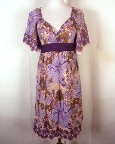 euc Delia's Kimono Empire Dress Bell Sleeves floral Hippie Boho made in India S #Delias