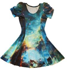 Galaxy Princess Seam Dress Choose Sleeve Options Actual Space Image... ($162) ❤ liked on Polyvore featuring dresses, black, women's clothing, see through dress, day dresses, galaxy print dress, long sleeve dresses and spandex dress
