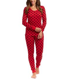 Mommy sized pjs and there is a toddler version too!!!  Look at this #zulilyfind! Red & Black Polka Dot Pajama Set - Women #zulilyfinds