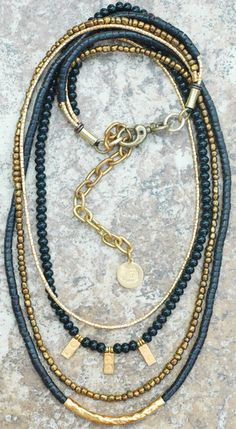 Holiday Inspired Long Black Onyx, Bronze and Gold Charm Necklace, XO Gallery