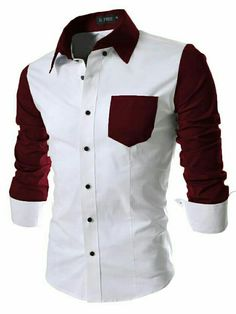 Men Casual Turn Down Collar Long Sleeve Contrast Color Patchwork Polo AGSG 01