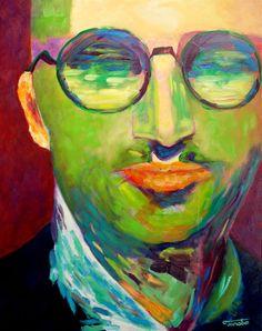 Man portrait oil original painting handmade on mdf by TanabeStudio, zł2900.00