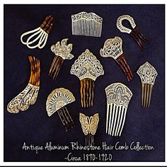 This is My Antique Aluminum Rhinestone Hair Comb Collection ~ Circa 1890-1920. I bought one 10 years ago & fell in love with these sparkly beauties & haven't been able to stop hunting them ever since !!! I adore my little shiny treasures & use them to adorn my thick almost knee length hair  <3