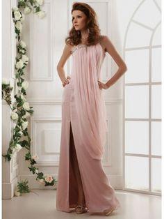Light Chiffon Crystal and Jewel Embellished Neck Neckline Bodice A-line Prom Dress