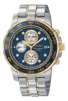 Seiko Mens SNAA64 Alarm Chronograph TwoTone Watch ** Details can be found by clicking on the image.