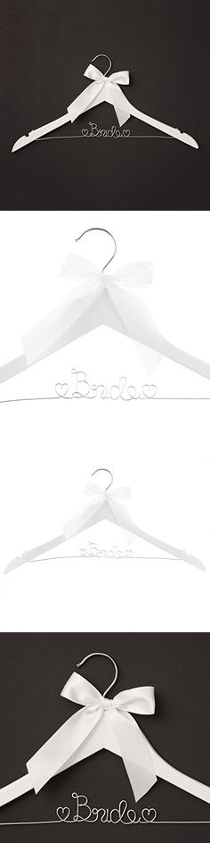 Bride to Be Wedding Dress Hanger, Wood and Wire Hangers for Gown (White with Silver Wire)