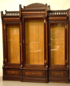 Pair Eastlake Victorian walnut bookcases c1875