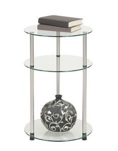 Convenience Concepts 3 Tier Round Table in Glass