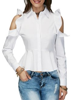 trendy tops for women online on sale Cold Shoulder Shirt, Shoulder Shirts, Trendy Tops For Women, Blouses For Women, Blouse Styles, Blouse Designs, Hijab Fashion, Fashion Outfits, Stylish