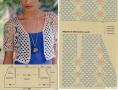 New Ideas For Crochet Blusas Patrones Ganchillo Filet Crochet, Pull Crochet, Crochet Motifs, Crochet Flower Patterns, Crochet Diagram, Crochet Hats, Crochet Top, Crochet Shrugs, Crochet Stitches