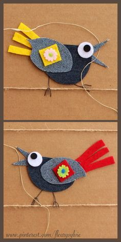 - Amazing French artist who makes collages from recycled jeans and other bits of fabric and paper. The compositions are simple and completely charming! Jean Crafts, Denim Crafts, Arte Punch, Denim Art, Denim Ideas, Bird Crafts, Art N Craft, Sewing Appliques, Craft Activities For Kids