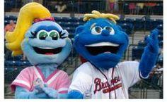 Roxie (left) and Romey, Rome Braves mascots; South Atlantic League