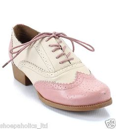 Pink Women's Lace Up Brogue Oxford Flats Size 5 5 to 10 | eBay