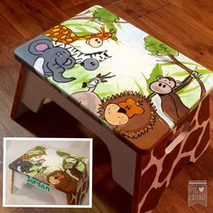 Childs Stool // painted step stool // custom by paintingbymichele