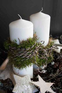 Christmas Candles: Moss and cording around candles.