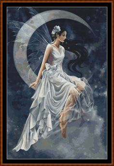Waning Fairy Cross Stitch [fairy moon with crescent fantasy] - $3.05 : Witchykitt Designs - , Downloadable Stitching Patterns