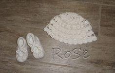 Sets - süßes gehäkeltes Babyset aus Mütze und Schuhen - ein Designerstück von ro-se bei DaWanda
