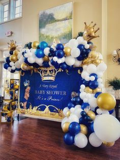 An event decorations service. Girl Baby Shower Decorations, Boy Baby Shower Themes, Baby Shower Balloons, Baby Shower Centerpieces, Balloon Decorations, Baby Boy Shower, Royalty Baby Shower Theme, Royal Baby Showers, Event Decor
