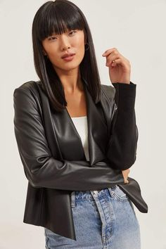 Model is wearing size S. Waterfall Leather Jacket, Leather Jacket Outfits, Free Clothes, Modeling, My Style, Long Sleeve, Casual, Clothing, How To Wear